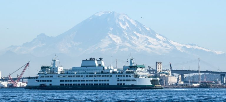 bainbridge Island Ferry with Mount Rainier in the background.
