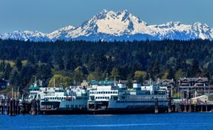 Bainbridge Island Ferry with Olympic Mountains in the background.