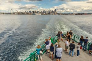 View from Bainbridge Island Ferry with Seattle in the distance
