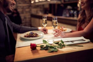 Couple have romantic evening in a Bainbridge Island Restaurants
